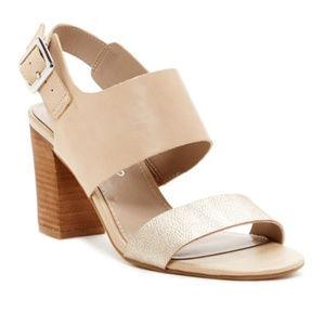 Franco Sarto Gothic Block Heel Open Toe Sandal